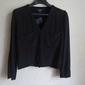 TOPSHOP Cropped Button DownBlack Shirt Size 6